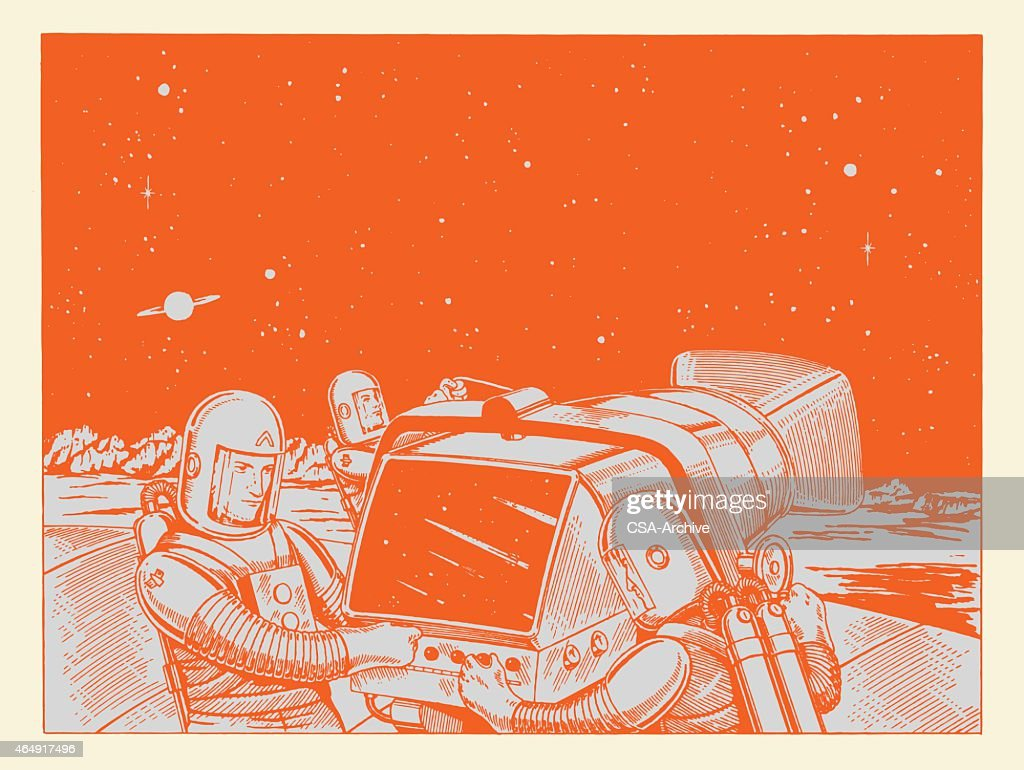 Astronauts Working on Equipment
