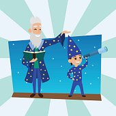 Astronomer grandfather with little boy vision person astronomy science observatory vector illustration