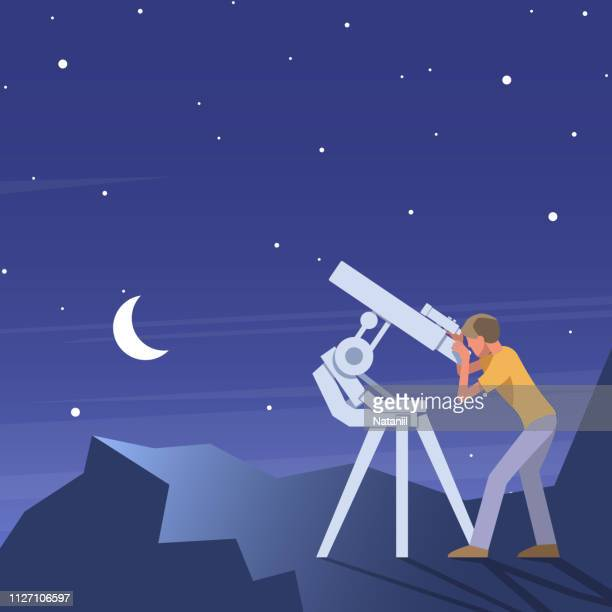 astronomical observations - looking through an object stock illustrations