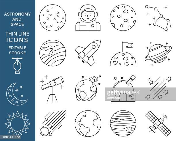 astronomy and space thin line icon set with editable strokes - meteor shower stock illustrations