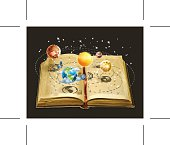 Astronomy book, knowledge about Solar system, vector illustration