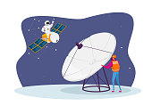 Astronomy Engineer Character Research Outer Space with Huge Antenna, Astronaut Flying on Satellite. Galaxy Research