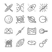 Astronomy icon set. Included the icons as stars, space, universe, galaxies, planet, solar system and more.