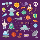 Astronomy icons stickers vector set.