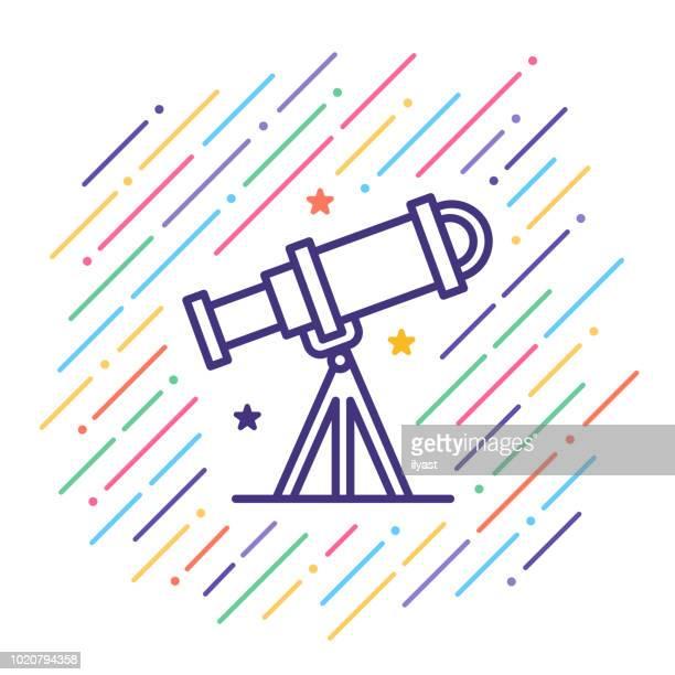 ilustraciones, imágenes clip art, dibujos animados e iconos de stock de icono de línea de astronomía - cometa espacio