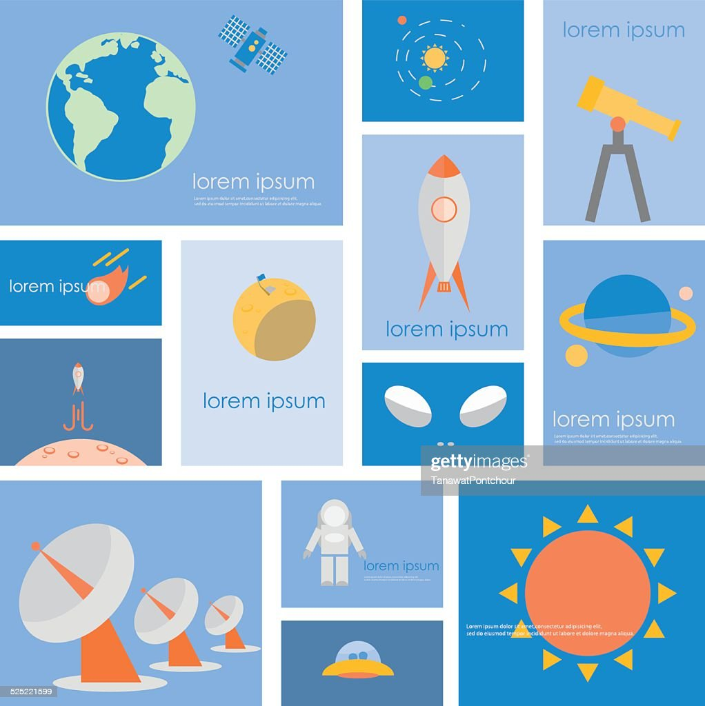 Astronomy science and space icon set.