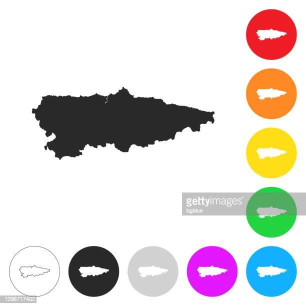 ilustrações, clipart, desenhos animados e ícones de mapa das astúrias - ícones planos em diferentes botões de cor - oviedo