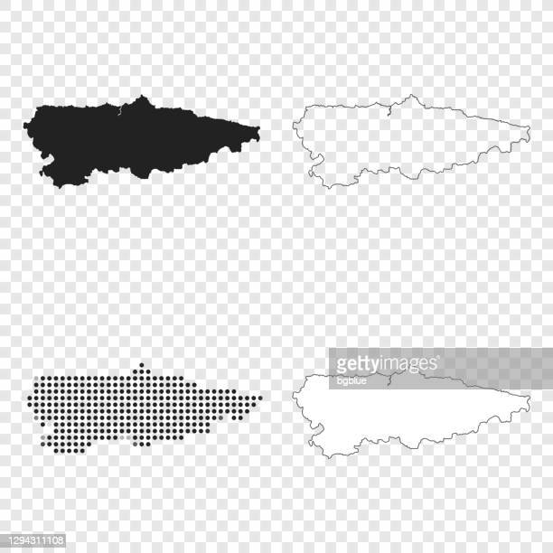 ilustrações, clipart, desenhos animados e ícones de mapas das astúrias para design - preto, contorno, mosaico e branco - oviedo