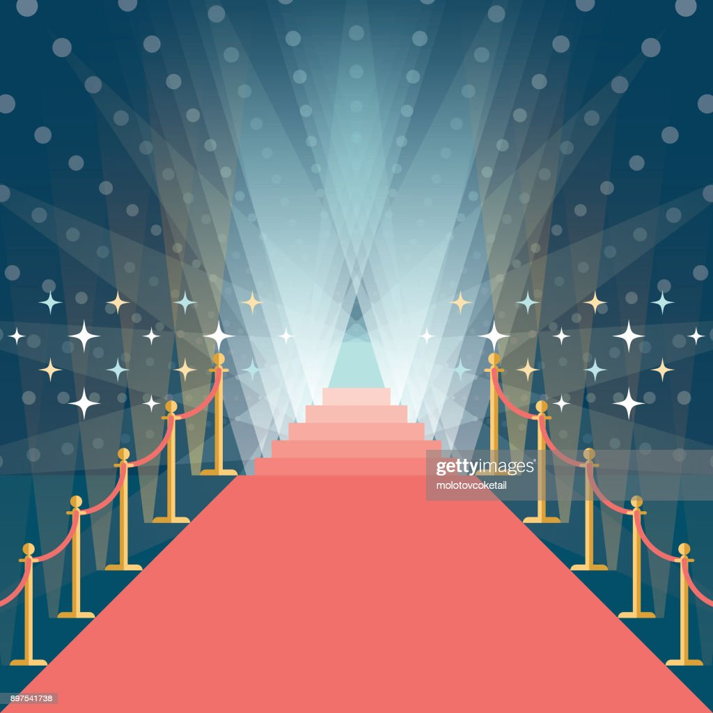 asymmetric red carpet background with staircase in the end : stock illustration
