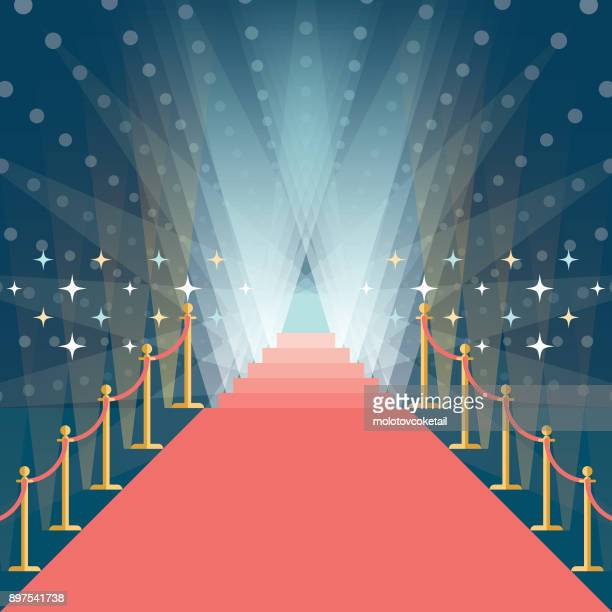 asymmetric red carpet background with staircase in the end