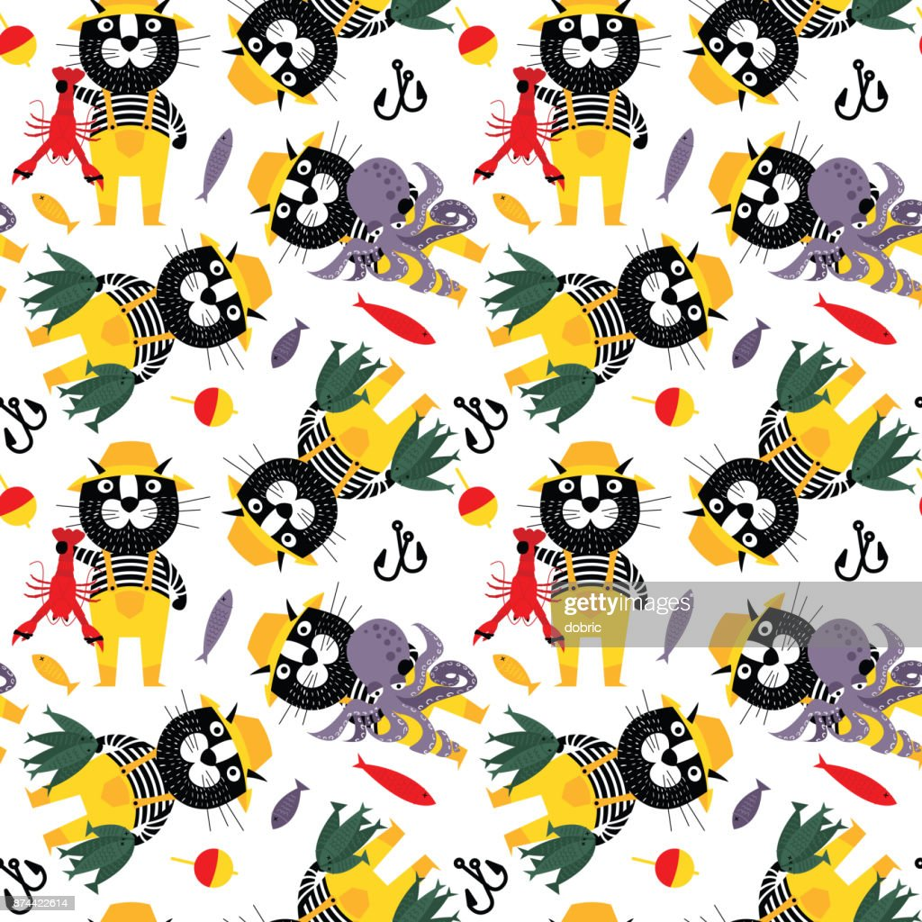 Сat fisherman with octopus, fishes,  and lobster seamless pattern