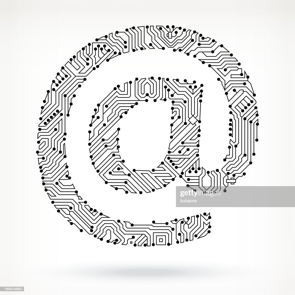 At Sign Circuit Board Vector Art | Getty Images