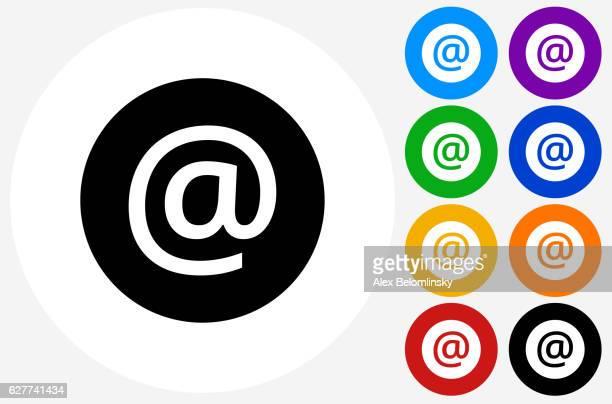 フラット カラー サークル ボタンのアットサイン アイコン - 'at' symbol点のイラスト素材/クリップアート素材/マンガ素材/アイコン素材
