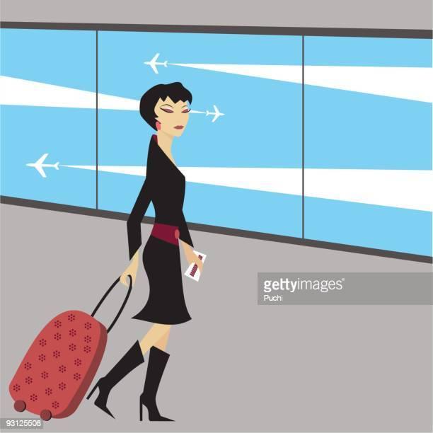 空港では - 乗り物に乗って点のイラスト素材/クリップアート素材/マンガ素材/アイコン素材