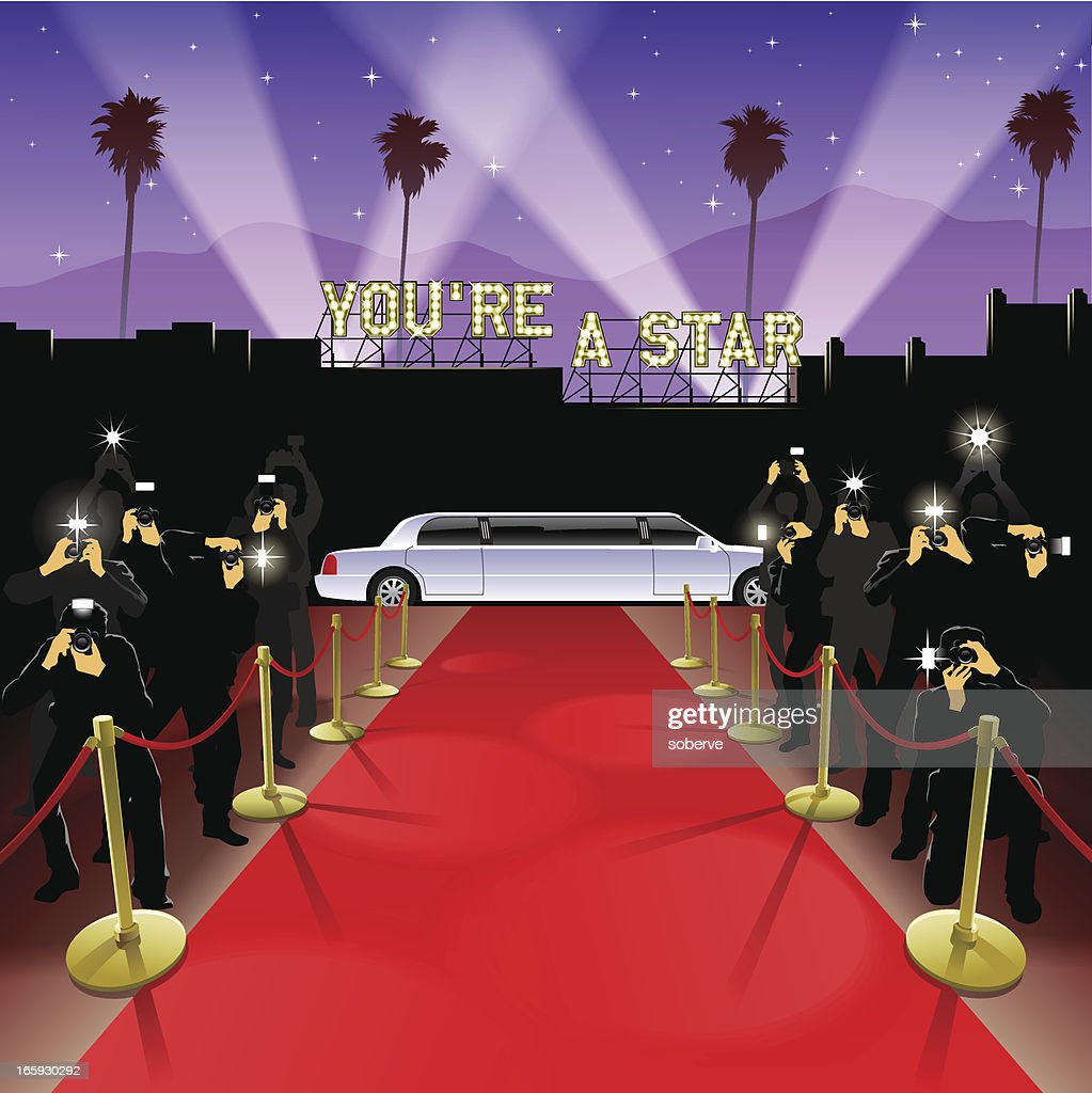 At the red carpet : stock illustration