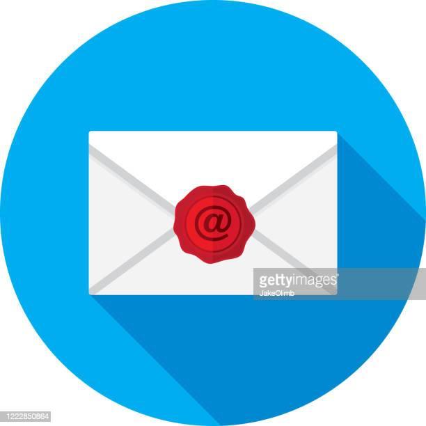 アットワックスシール封筒アイコンフラット - 発送書類入れ点のイラスト素材/クリップアート素材/マンガ素材/アイコン素材