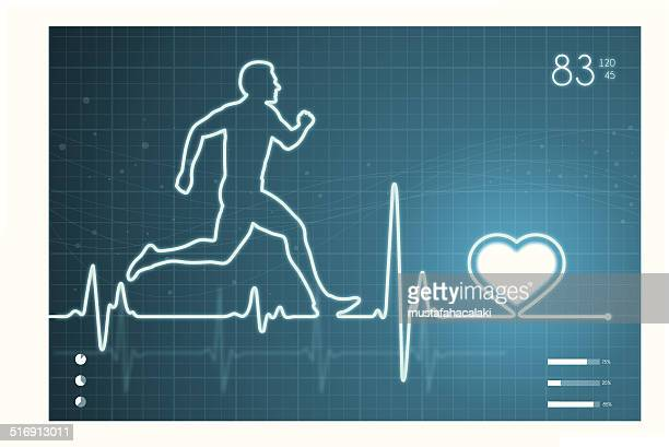 athelete and heart with ecg monitor - sportsperson stock illustrations