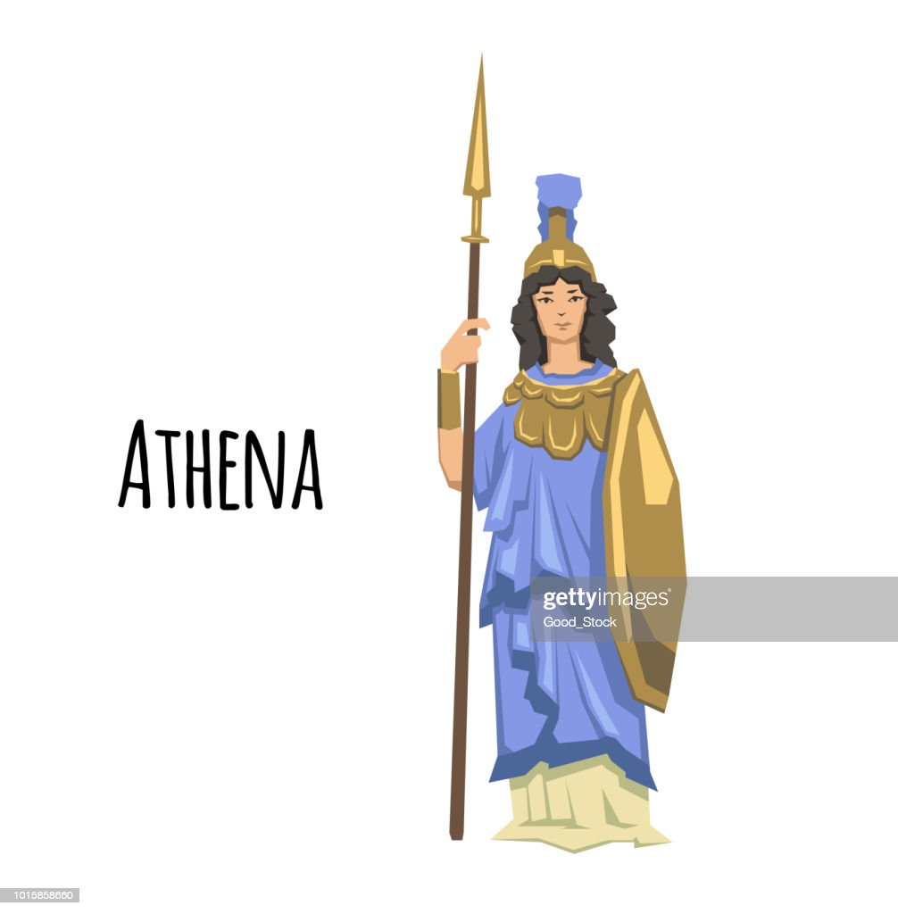 Athena, ancient Greek goddess of Wisdom, War, and Useful Arts. Mythology. Flat vector illustration. Isolated on white background.