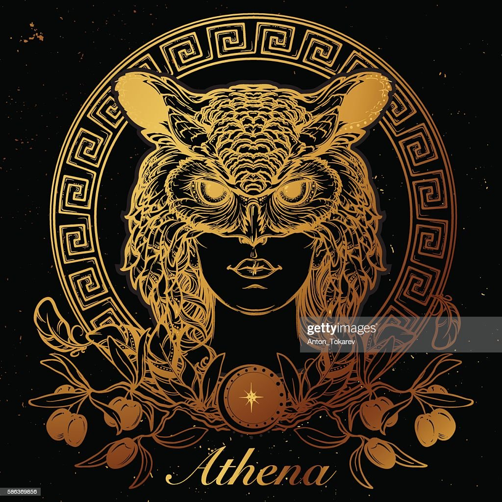 Athena sketch. Gold on black.