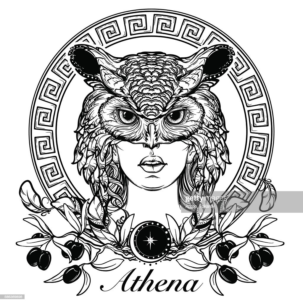 Athena sketch isolated on white background