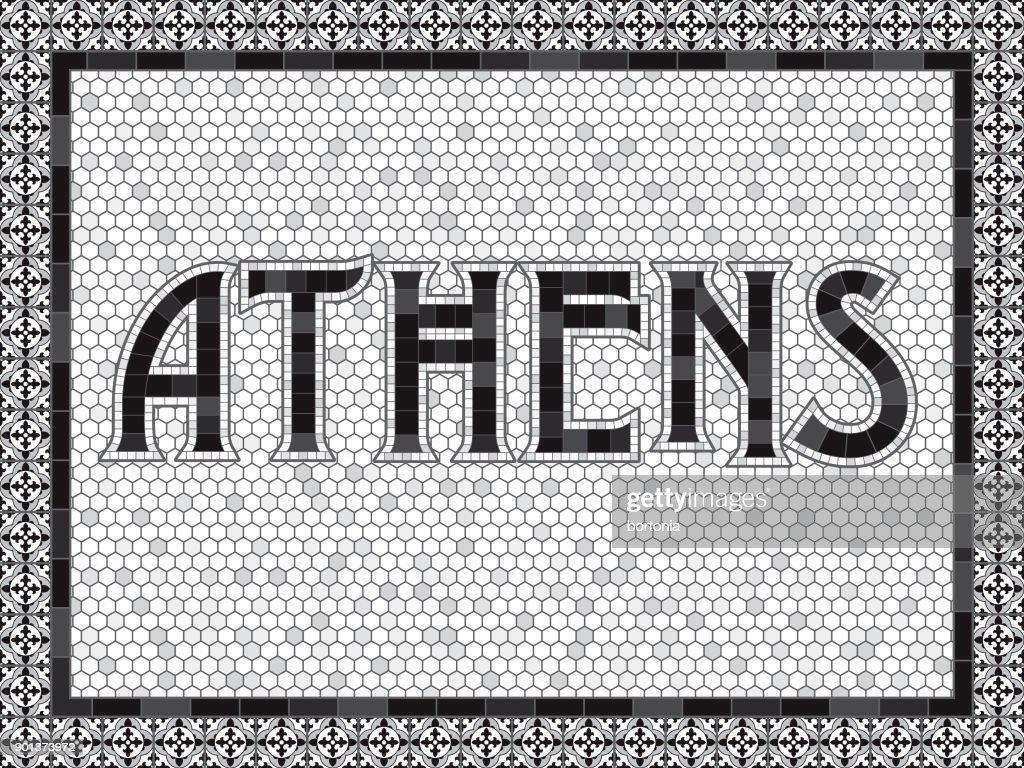 Athen Alte Altmodische Mosaik Fliesen Typografie Vektorgrafik - Alte mosaik fliesen