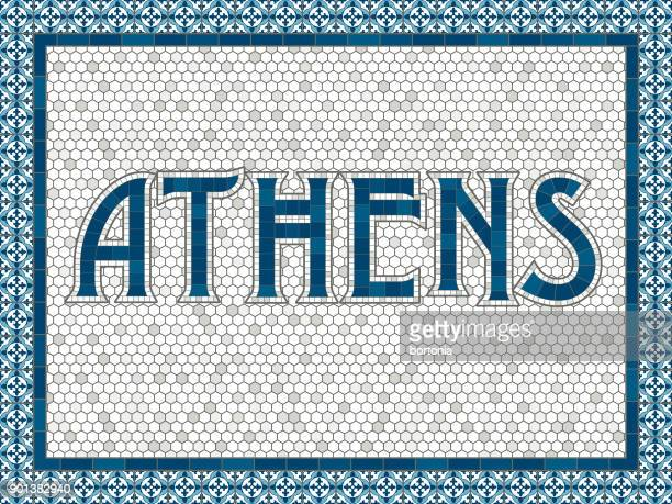athens old fashioned mosaic tile typography - athens georgia stock illustrations