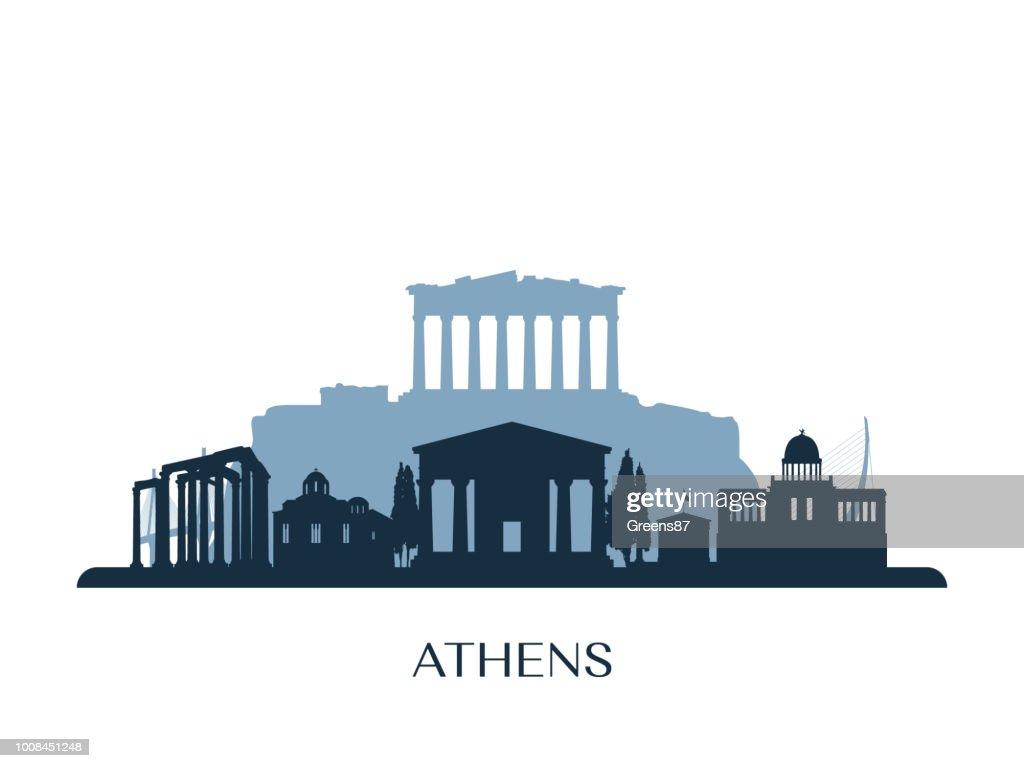Athens skyline, monochrome silhouette. Vector illustration.