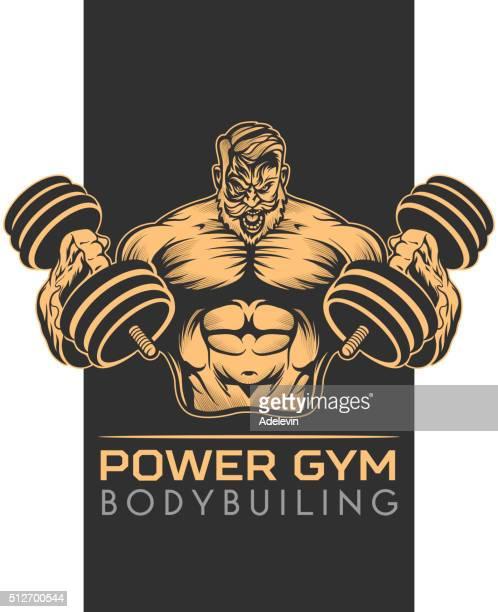 athlet bodybuilder emblem - bicep stock illustrations, clip art, cartoons, & icons