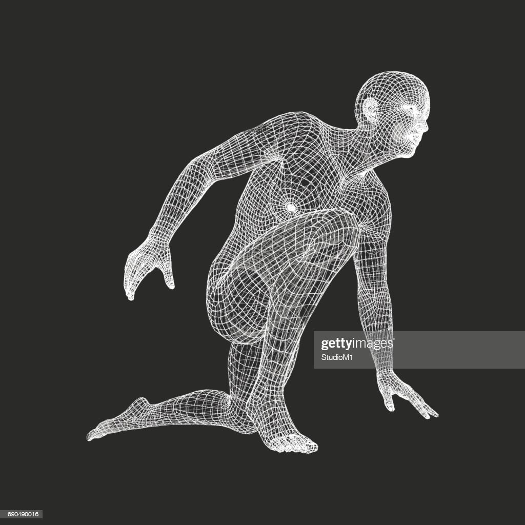 Athlete at Starting Position Ready to Start a Race. Runner Ready for Sports Exercise. Human Body Wire Model. Sport Symbol. 3d Vector.