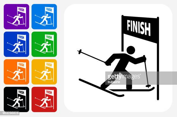 Athlete at the Finish Line Icon Square Button Set