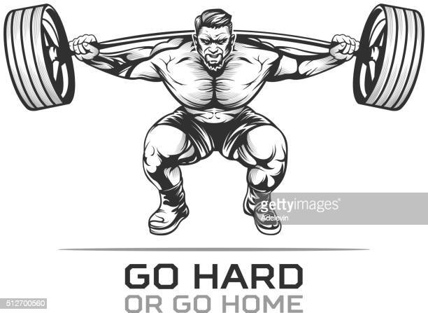 athlet bodybuilder with barbell - weight training stock illustrations