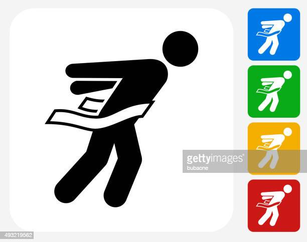 Athlete Crossing Finish Line Icon Flat Graphic Design