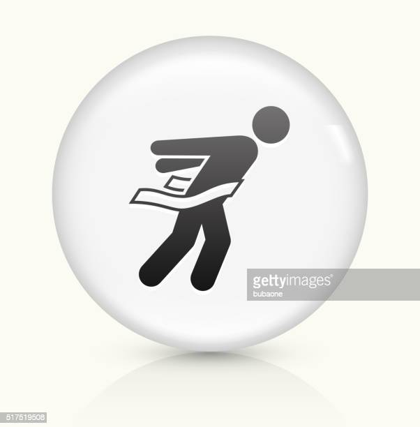 stockillustraties, clipart, cartoons en iconen met athlete crossing finish line icon on white round vector button - military