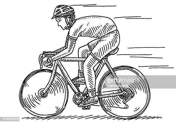 athlete riding bycicle side view drawing - bike helmet stock illustrations, clip art, cartoons, & icons