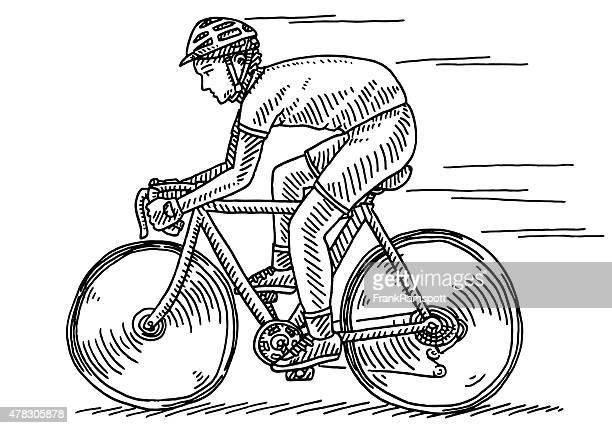 stockillustraties, clipart, cartoons en iconen met athlete riding bycicle side view drawing - rijden activiteit