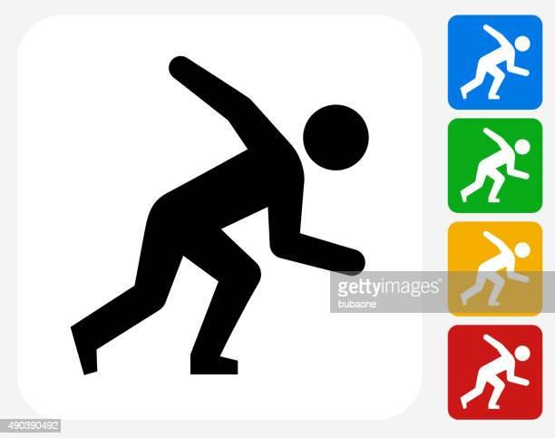 stockillustraties, clipart, cartoons en iconen met athlete running icon flat graphic design - military