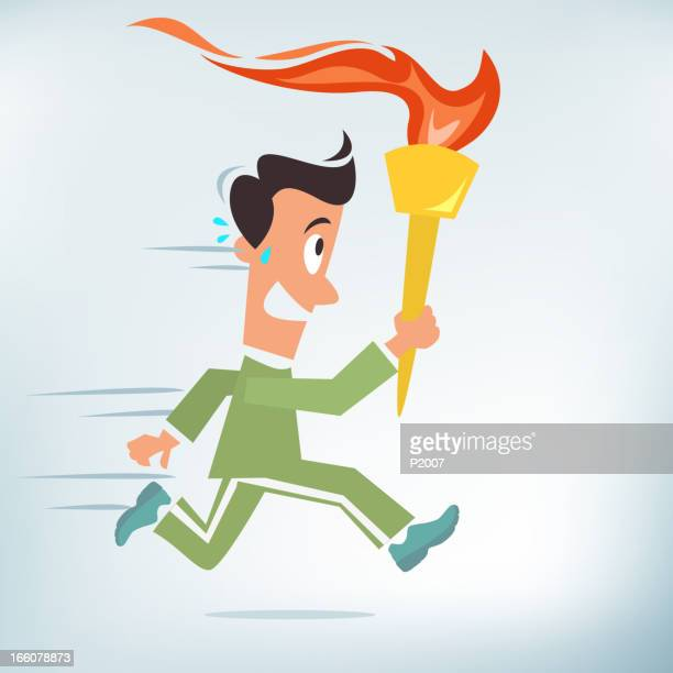 athlete running with a torch - sport torch stock illustrations, clip art, cartoons, & icons