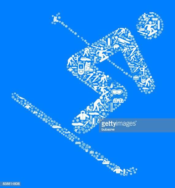 athlete skiing downhill winter sports fun - ski slope stock illustrations, clip art, cartoons, & icons