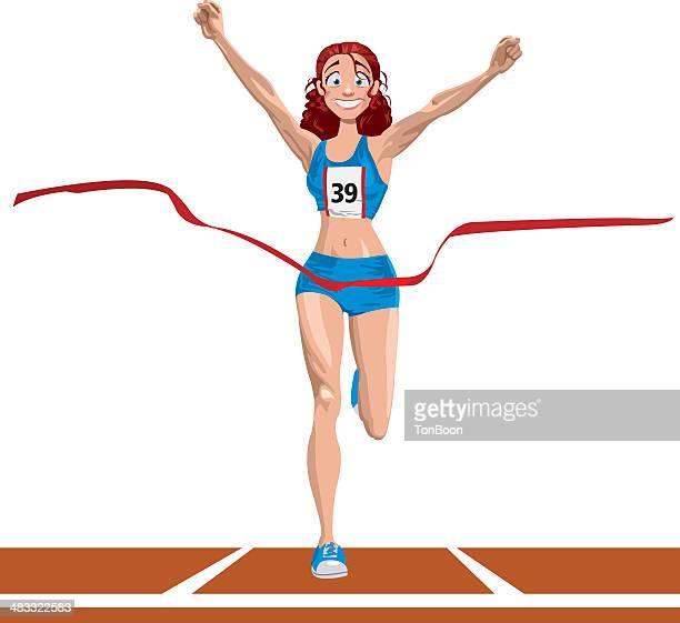 ilustraciones, imágenes clip art, dibujos animados e iconos de stock de atleta galardonado - pista de atletismo