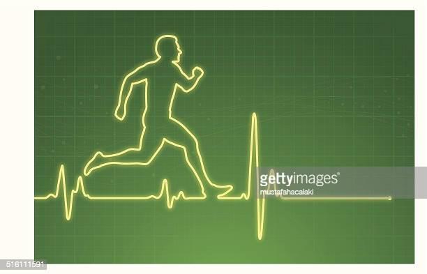 Sportler mit Herzfrequenz-Messgerät