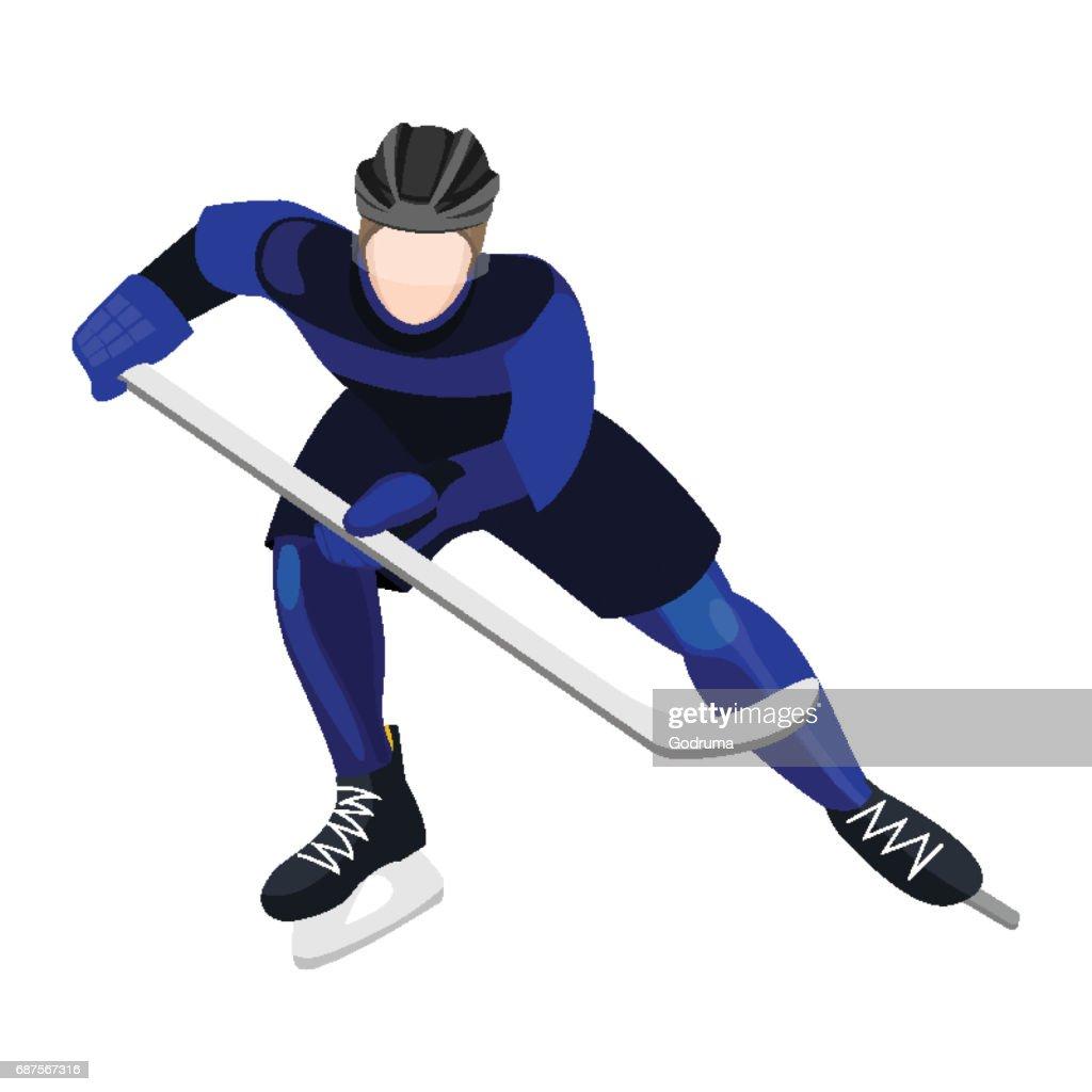 Athlete with ice-hockey stick playing hockey vector illustration