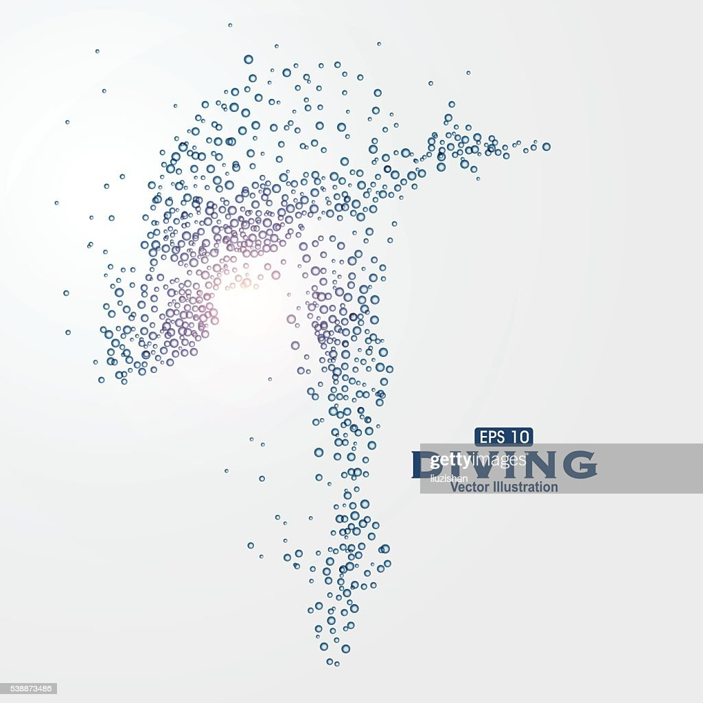 Athletes image composed of particles, vector illustration.