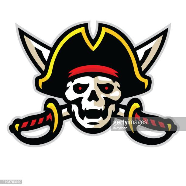athletic aggressive pirate with crossed swords and ready for war. - pirate criminal stock illustrations