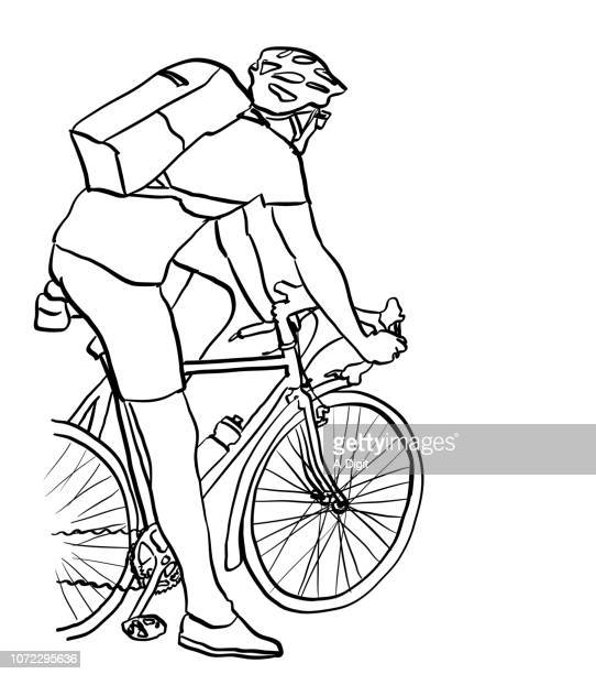athletic cyclist - racing bicycle stock illustrations