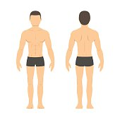 Athletic man front and back