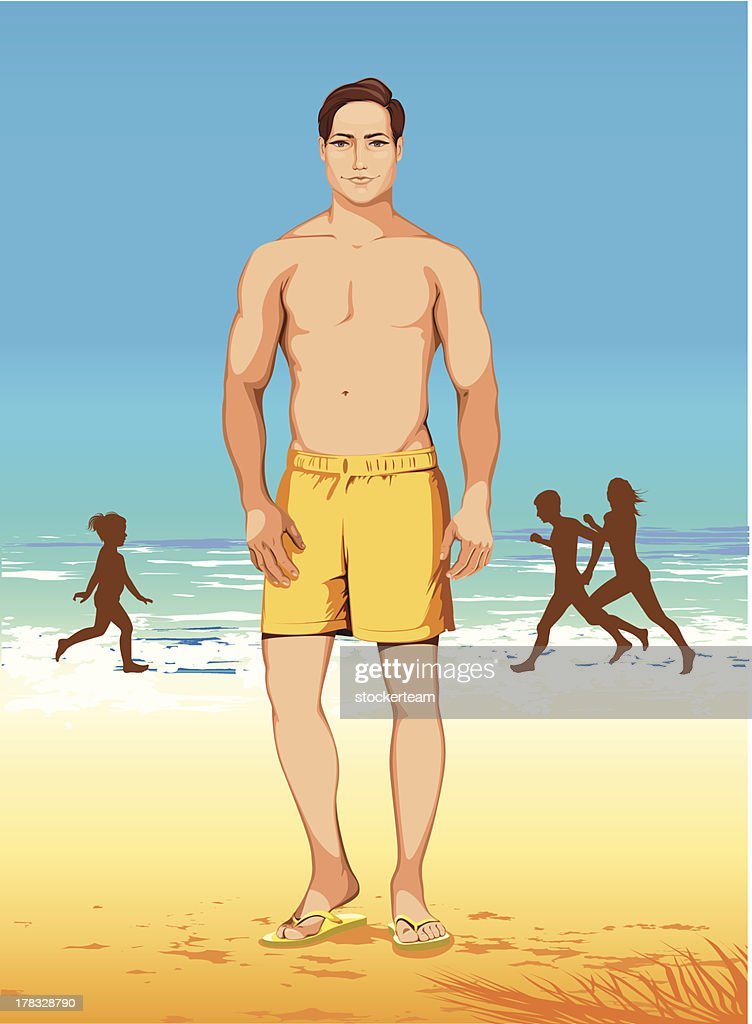 athletic man in yellow shorts