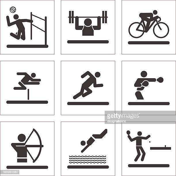 athletic pictogram icons - table tennis stock illustrations