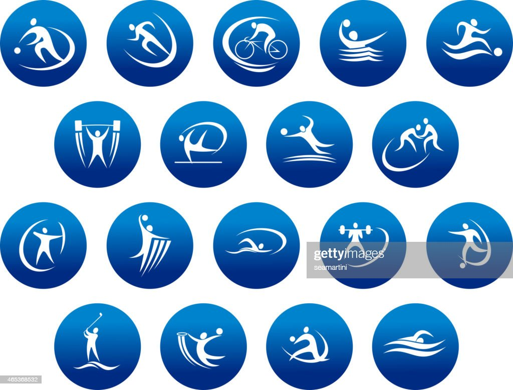 Athletics And Team Sport Icons Or Symbols Vector Art Getty Images