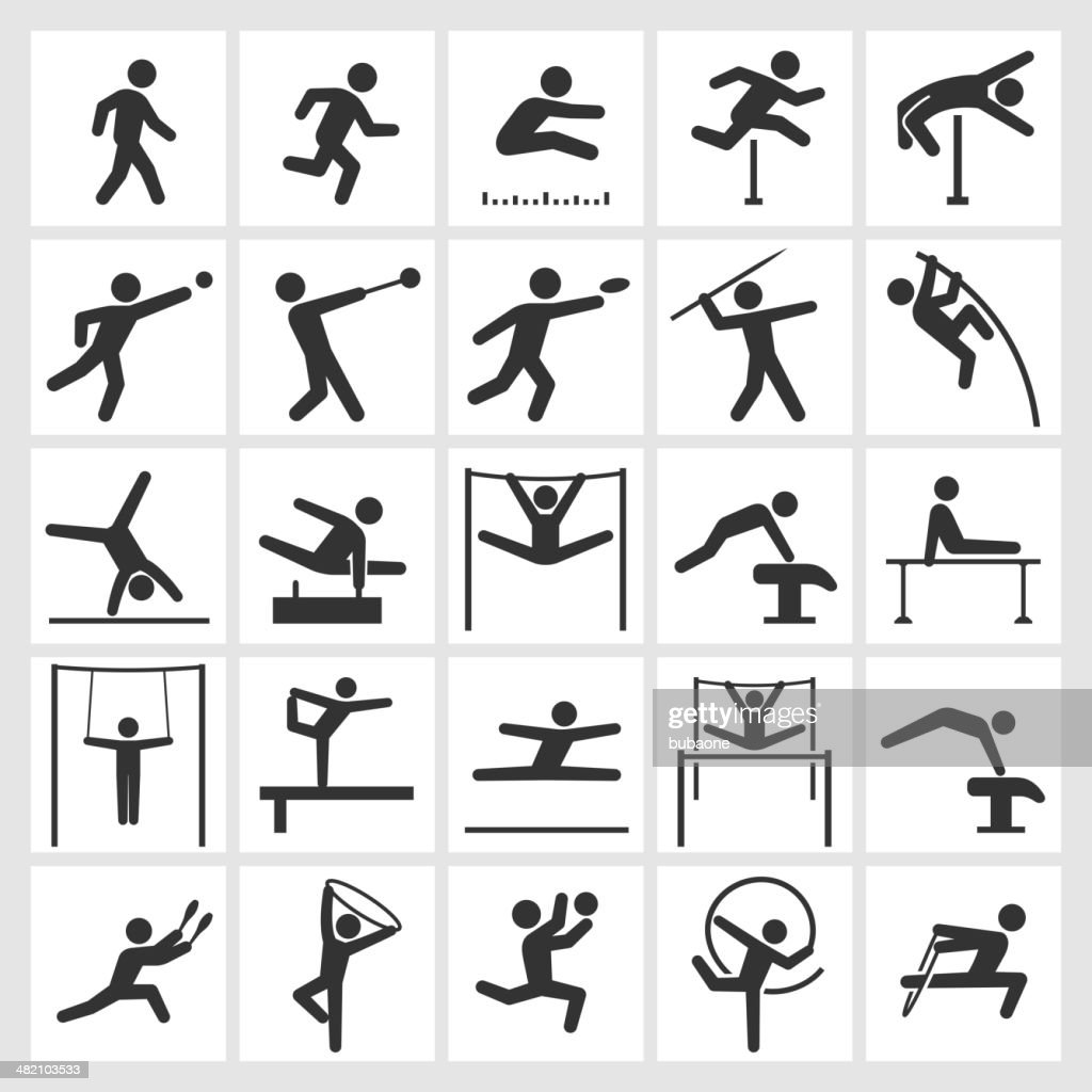 Athletics Artistic and Athletic Gymnastics black & white icon set