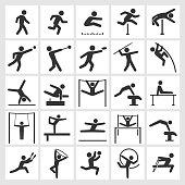 Athletics Artistic and Athletic Gymnastics black & white icon set
